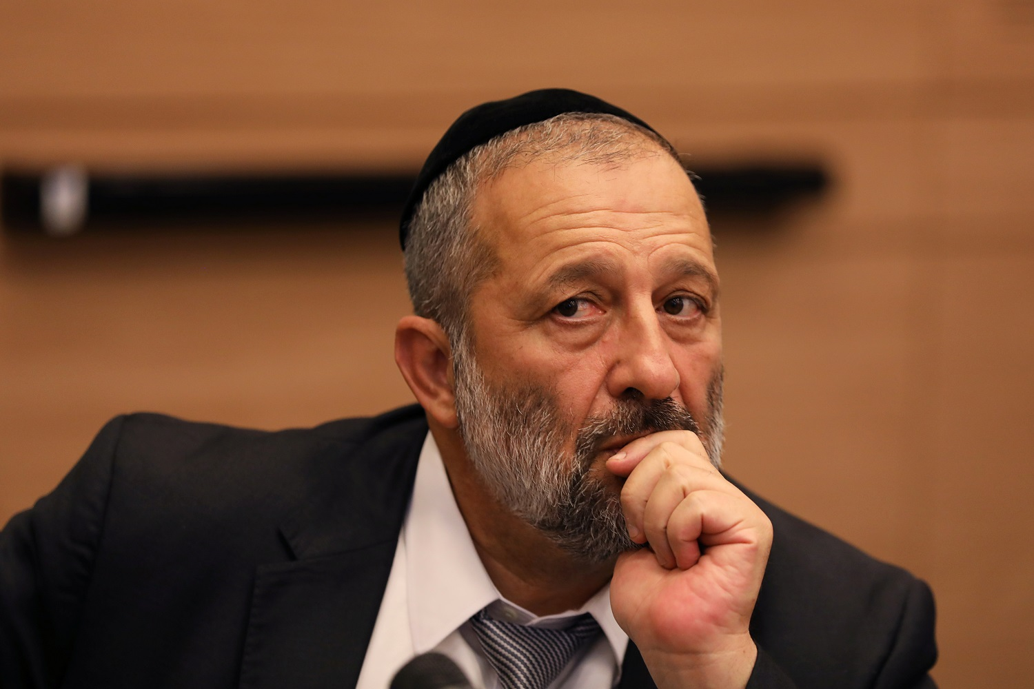 Ariye Deri, leader of the Shas party, attends a meeting at the Knesset in September 2017 (Reuters)