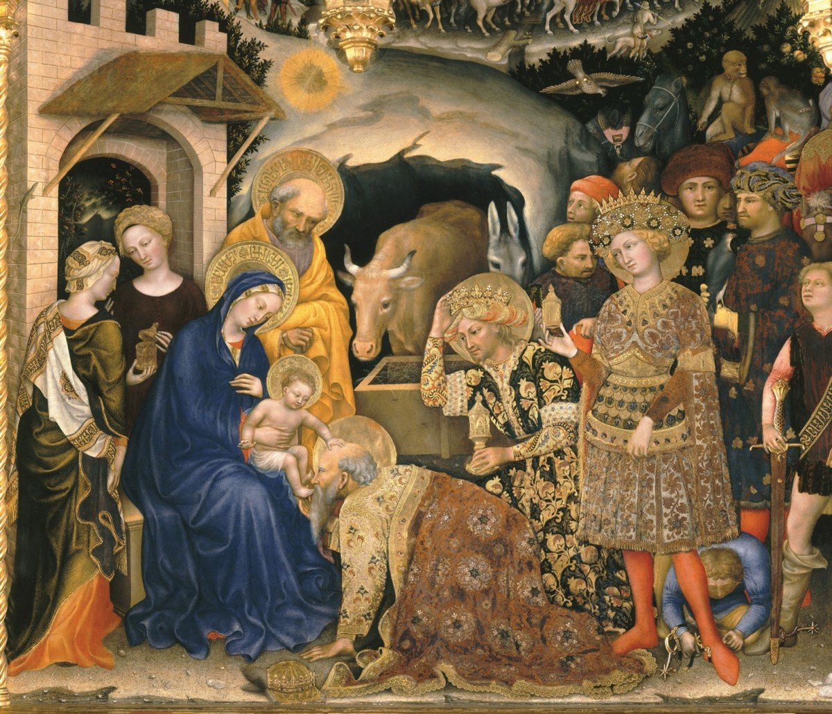 "Arabic-style script can be seen on the clothing of some of the figures in ""Adoration of the Magi"", a 1423 painting by Gentile da Fabriano (Reproduced by permission of Interlink Publishing)"