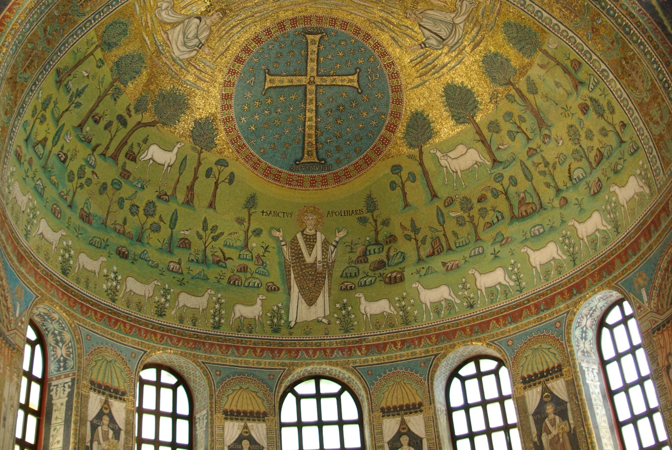 The 6th century Byzantine mosaic in the apse of the basilica of Sant'Apollinare in Classe (Ravenna, Italy) (Wikipedia)