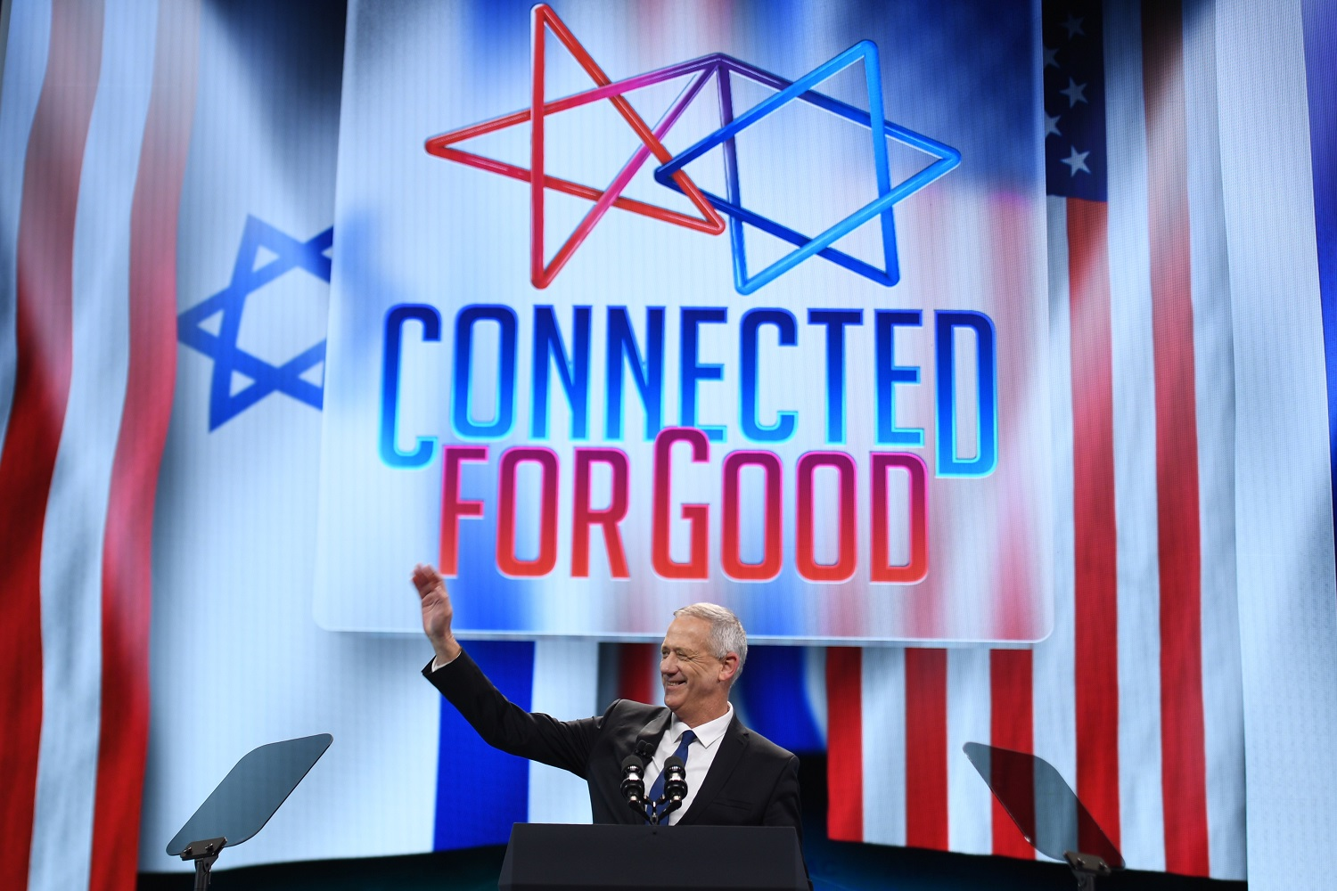 Benny Gantz at the AIPAC annual meeting in Washington in March 2019 (AFP)
