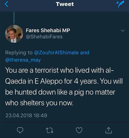 A screenshot of Fares Shehabi threatening MEE journalist Zouhir al-Shimale on Twitter (Screenshot)