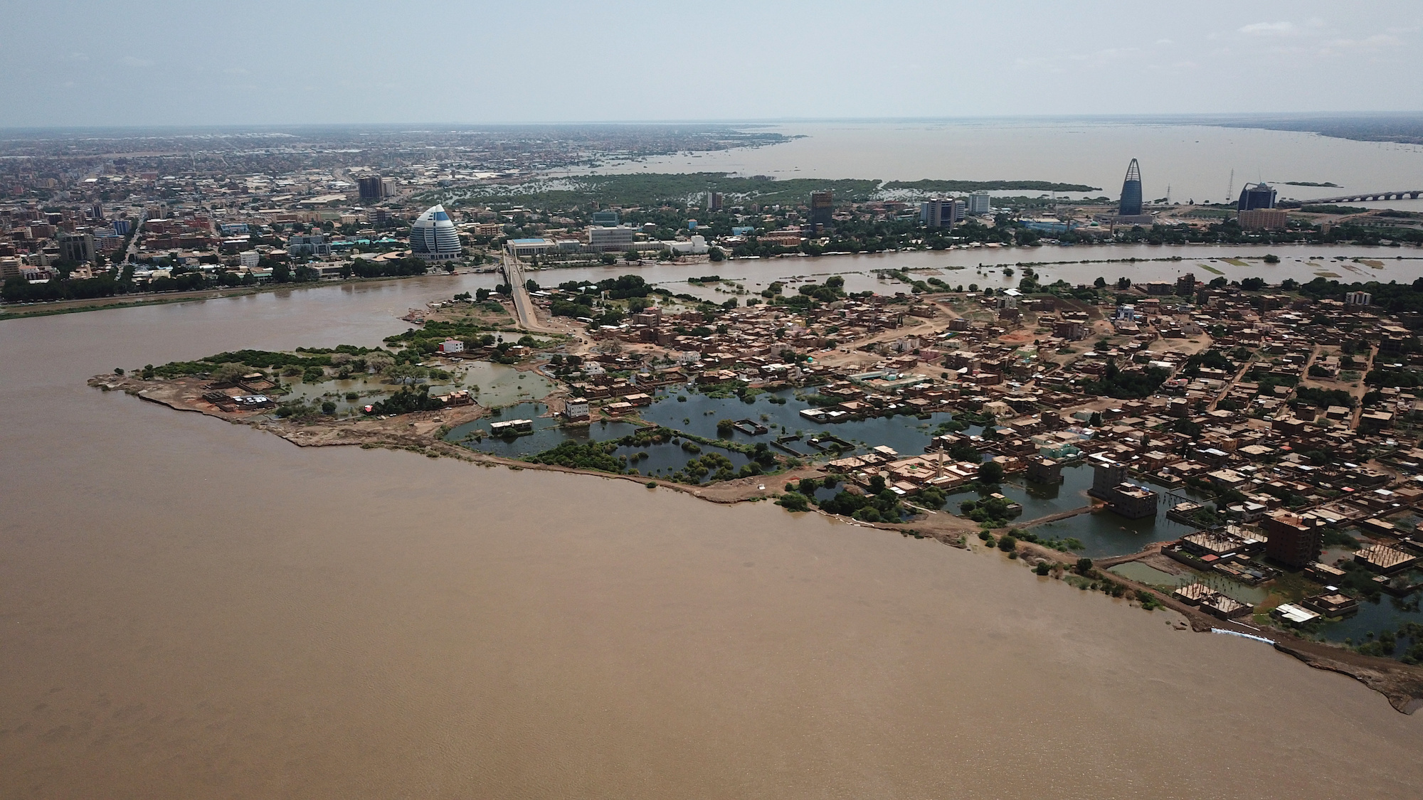 Aerial view of flooding in Khartoum Sudan