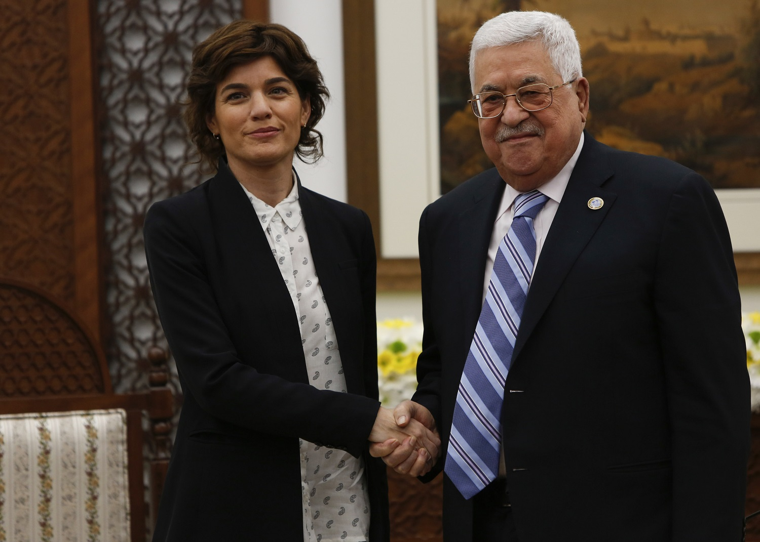 Tamar Zandberg (left) meets with Palestinian president Mahmoud Abbas in Ramallah in March 2019 (AFP)