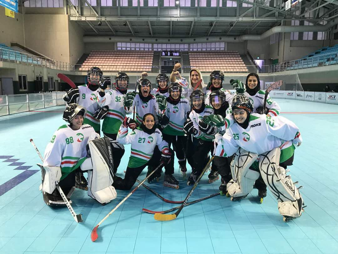 Iranian inline hockey team at Asian Roller Championship in South Korea, 2018