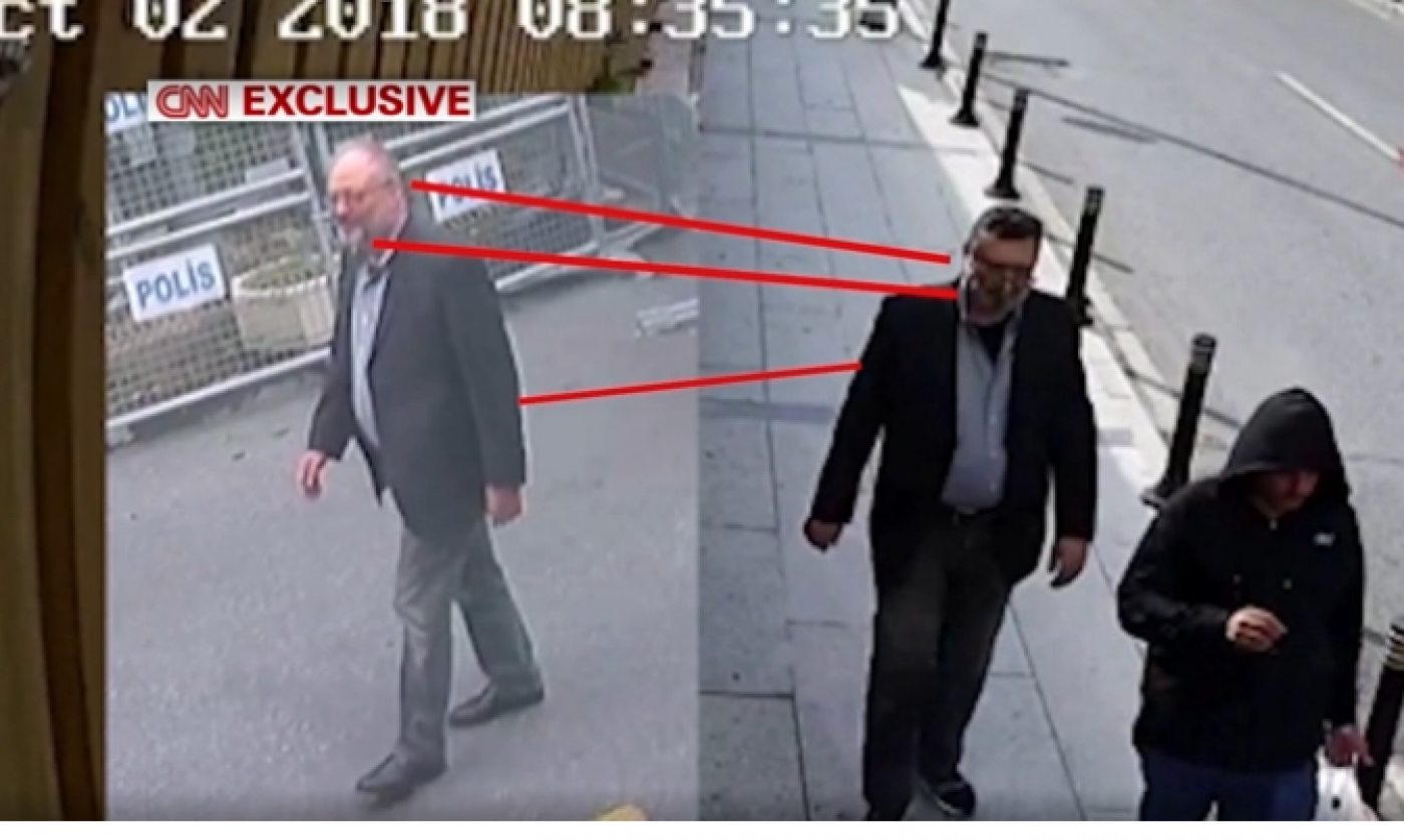 Jamal Khashoggi walking into the consulate, left, and Mustafa al-Madani later wearing his clothes, right (Screengrab)