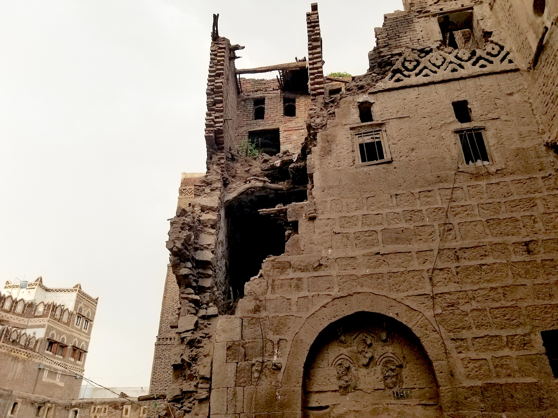 Damaged ancient building in Sanaa's Old City