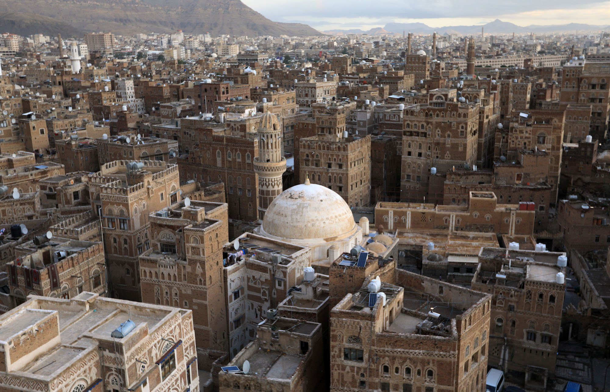 View of Sanaa's Old City, a UNSECO heritage site, and its mud houses