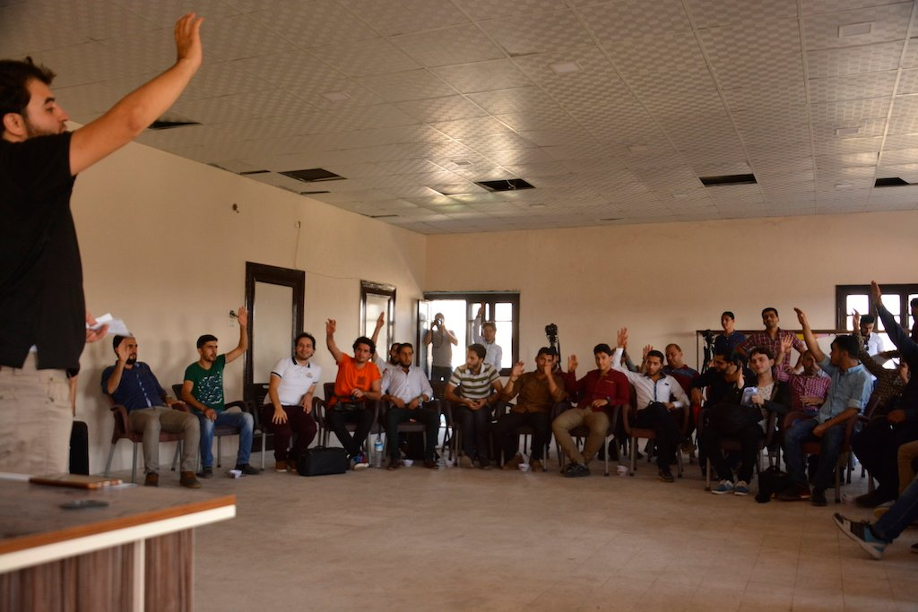 A meeting of the Media Workers Association of Eastern Ghouta (Harun al-Aswad)