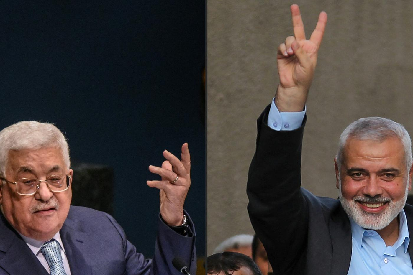 This combination of pictures created on 11 January, 2019 shows (L) Palestinian president Mahmoud Abbas and Hamas leader Ismail Haniyeh (AFP)