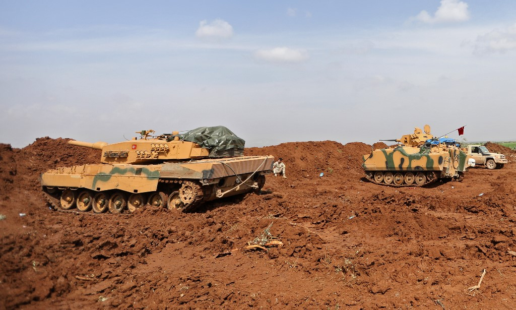 Turkish tanks are seen in the Syrian region of Afrin in March 2018 (AFP)