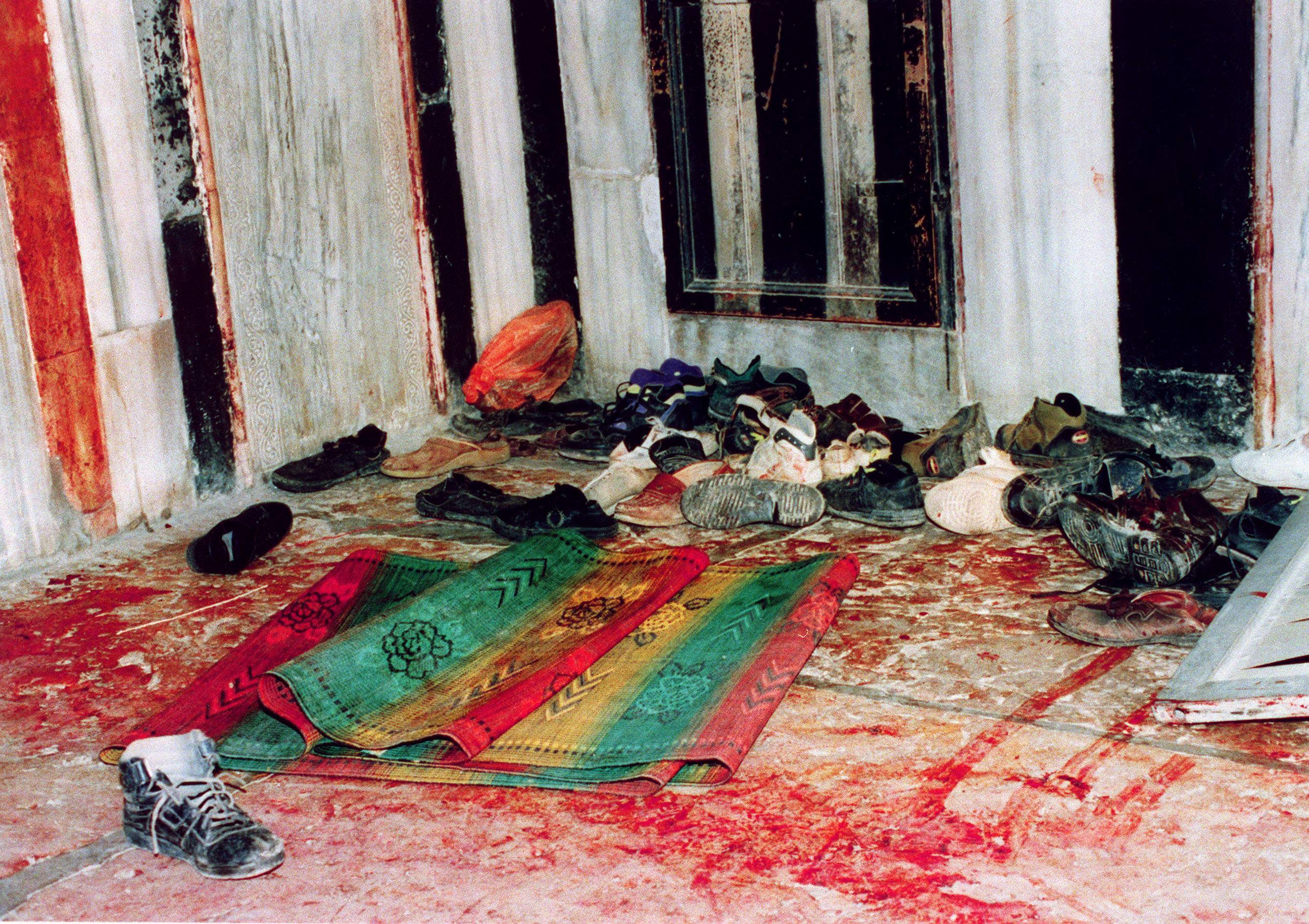The aftermath of the Ibrahimi mosque massacre Hebron on 25 February 1994 (AFP)