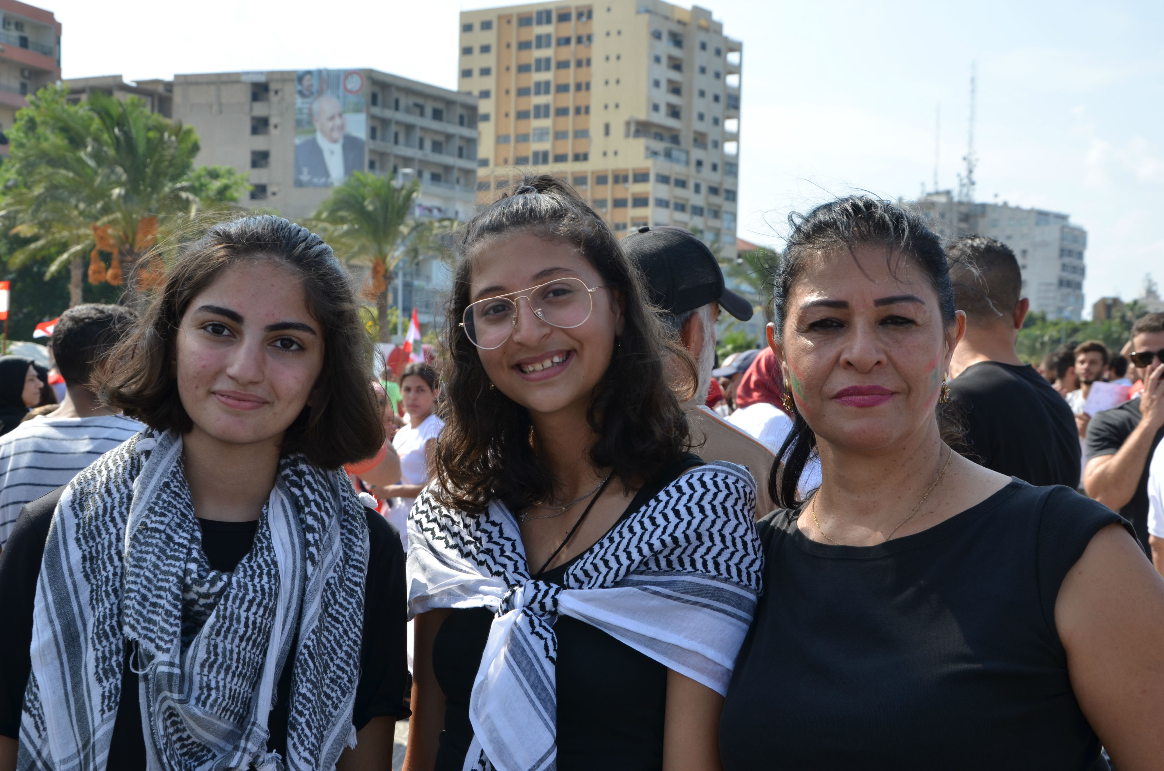 Sara Mroue and her two daughters in Sour, south Lebanon (MEE/Chloe Domat)