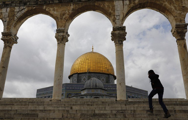 The Dome of the Rock at Al-Aqsa Mosque compound is pictured on 1 March (AFP)