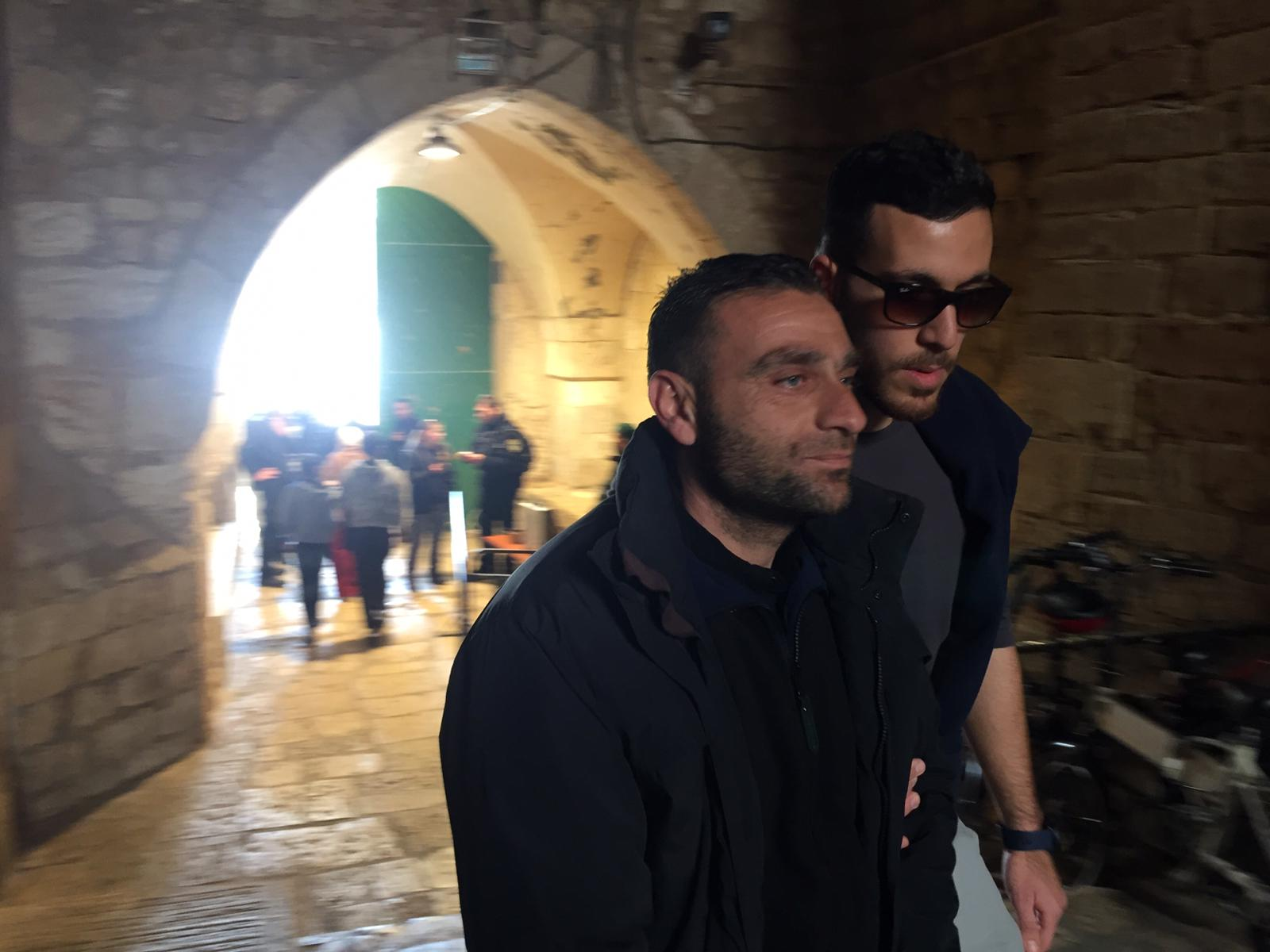 A Palestinian guard is detained at the al-Aqsa mosque (supplied)