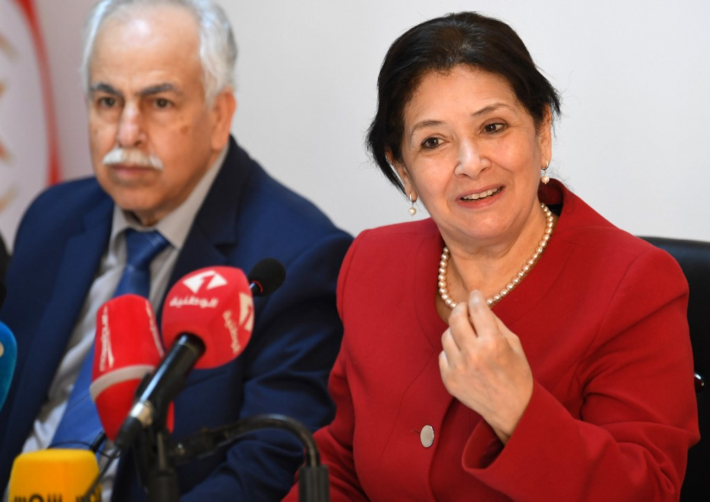 Sihem Ben Sedrine (R), President of Tunisia's Truth and Dignity Forum (IVD), gives a press conference in the capital Tunis on May 25, 2018. The Tunisian government has informed the body that their prerogatives ends on May 31.