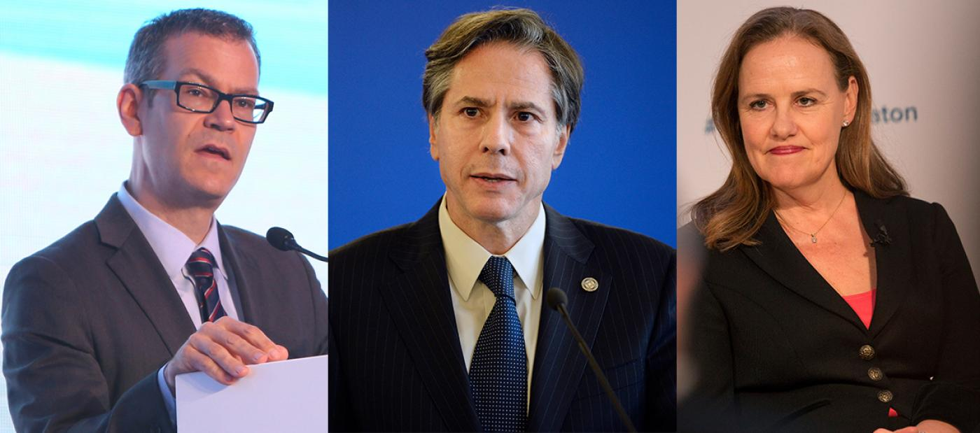 Colin Kahl (L), Antony Blinken (C), and Michele Flournoy are all advisers to Biden's presidential campaign (AFP/File photo)