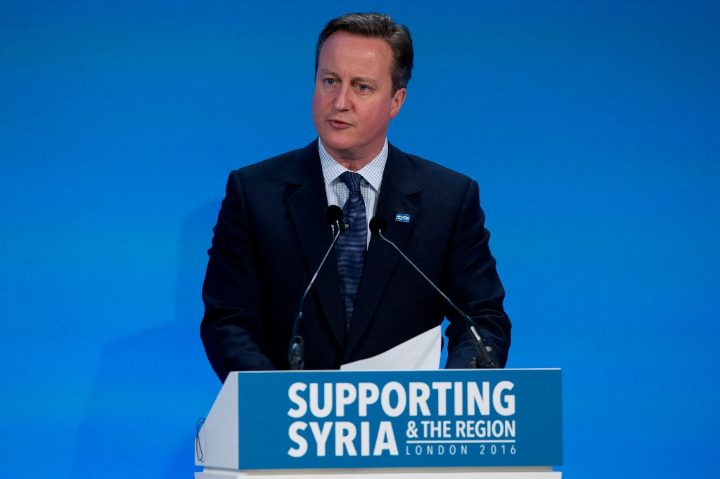 Former British Prime Minister David Cameron speaks at a Syria donors' conference in central London in 2016 (AFP)