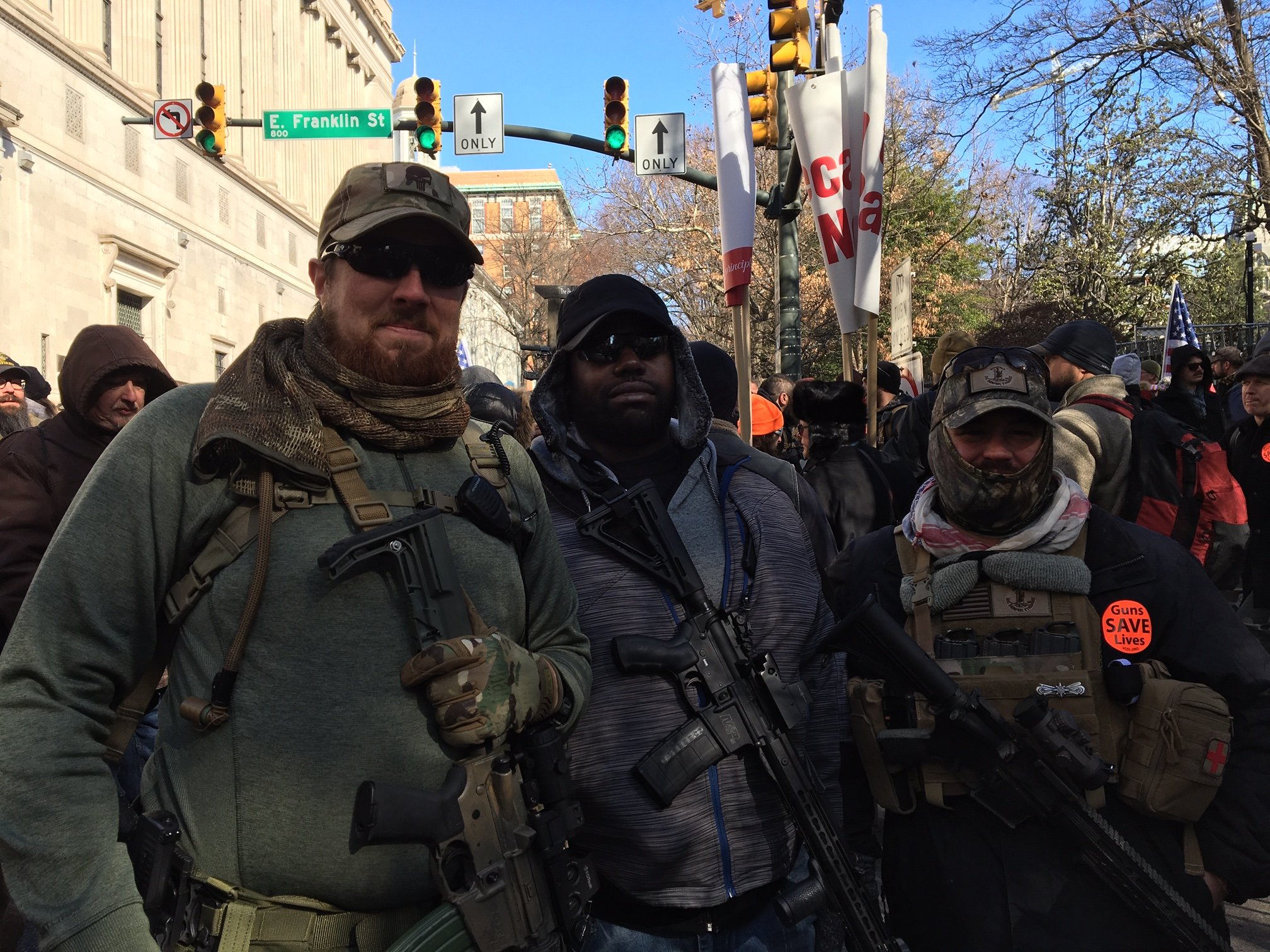 Virginia native Chad Barrett with other protesters in his group during Richmond's pro-gun rally (MEE/Sheren Khalel)