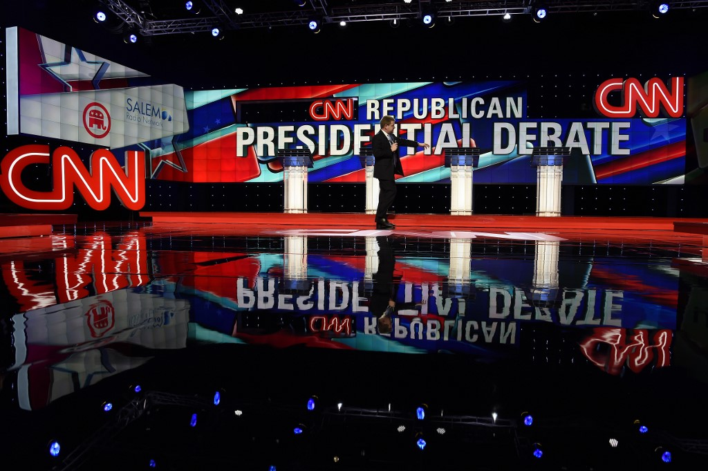 CNN's Republican presidential debate stage is pictured in Florida in 2016 (AFP)