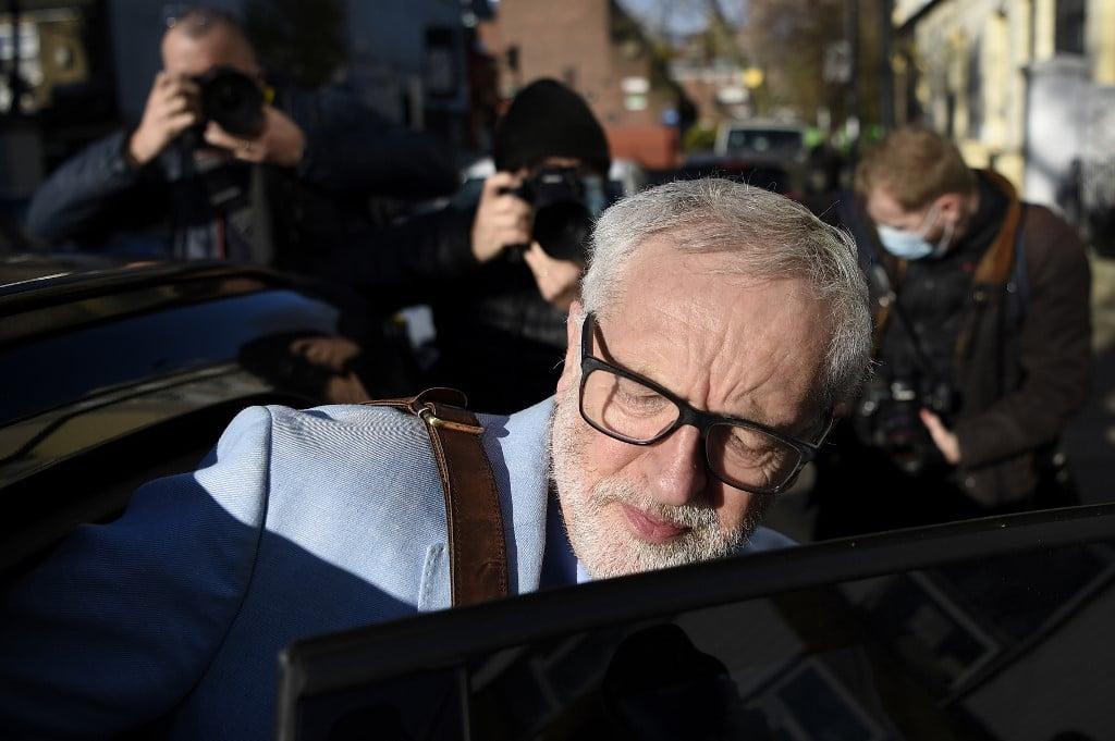 Former Labour leader Jeremy Corbyn leaves his London home on 18 November (AFP)