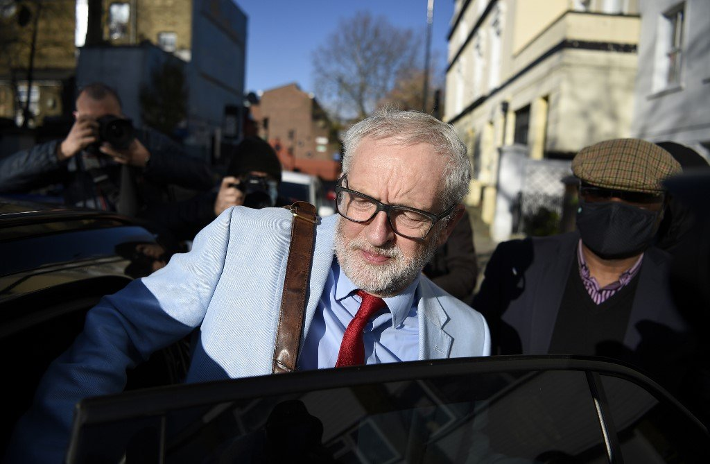 Former Labour leader Jeremy Corbyn leaves his London home on 18 November (AFP)