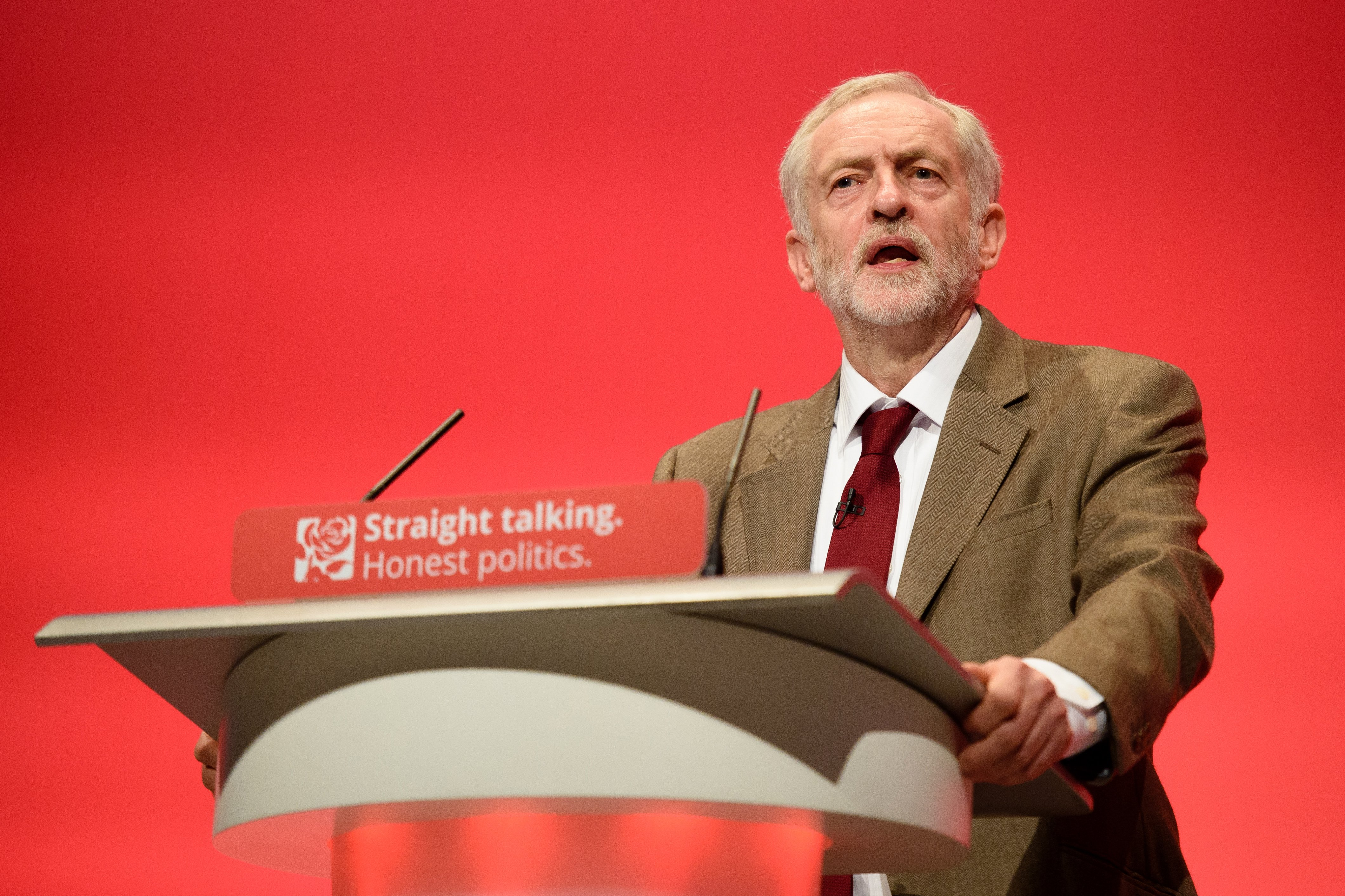 Jeremy Corbyn gives his first leader's speech at the Labour Party conference in 2015 (AFP)