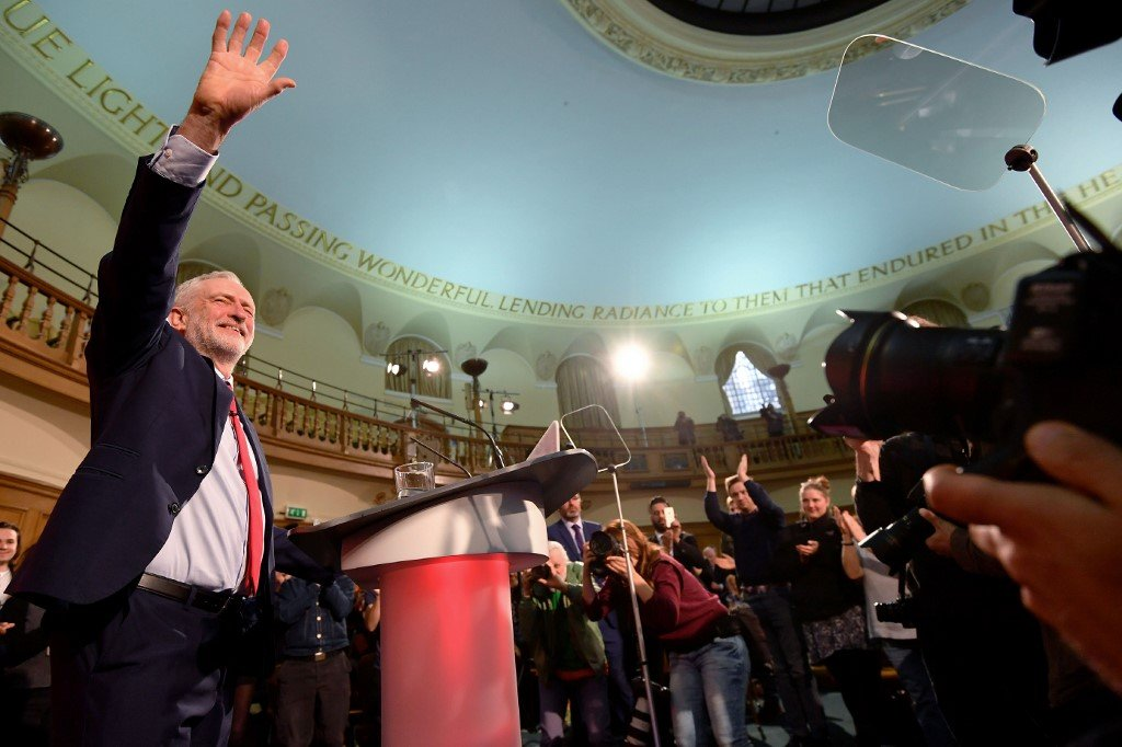 Corbyn delivers his inaugural campaign speech in London in 2017 (AFP)
