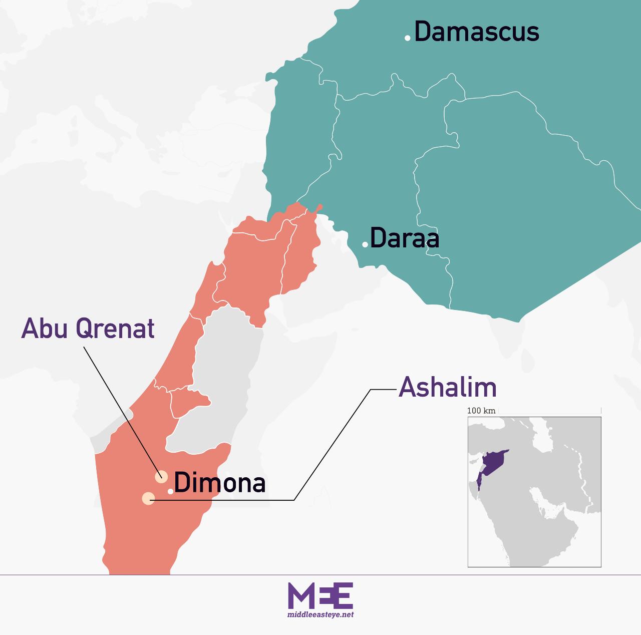 Dimona missile map
