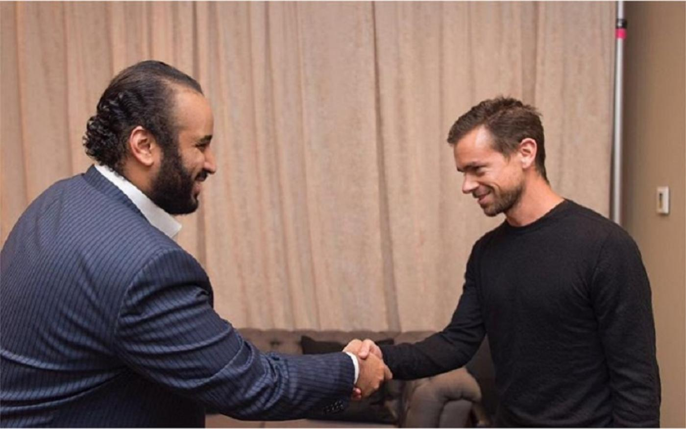 Jack Dorsey and Mohammed bin Salman shaking hands in photo posted by Bader al-Asaker in June 2016 (Instagram)