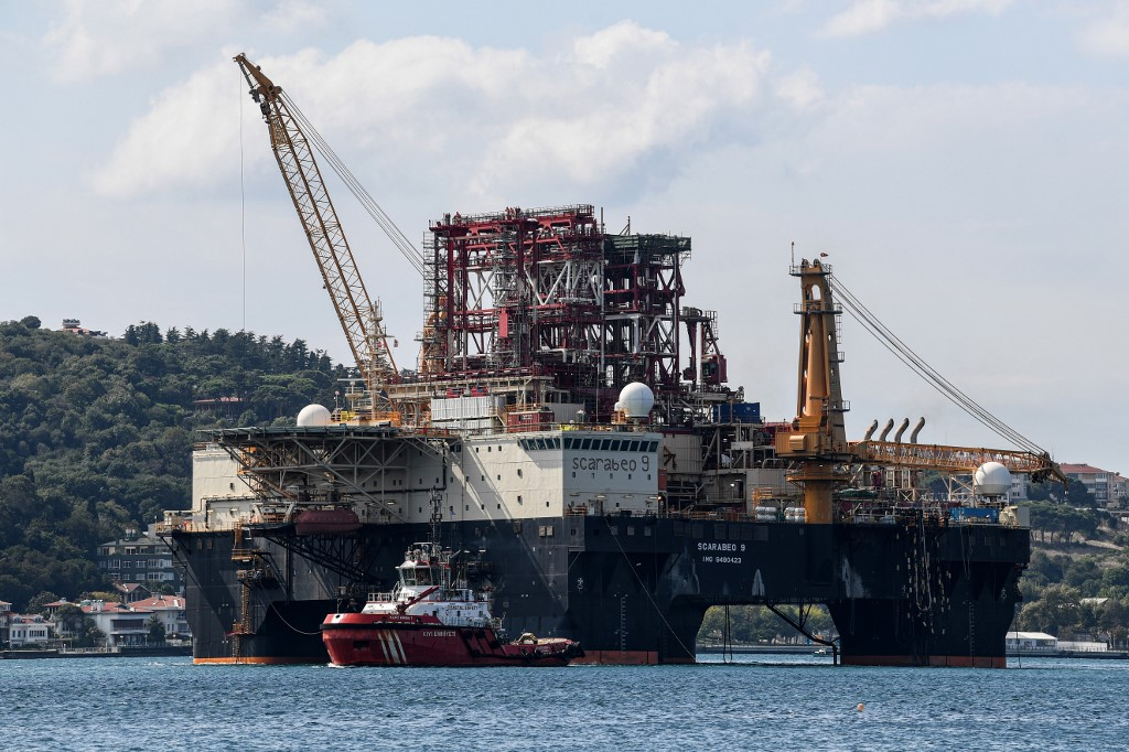 A drilling rig passes on the Bosphorus Strait en route to the Black Sea in August 2019 (AFP)