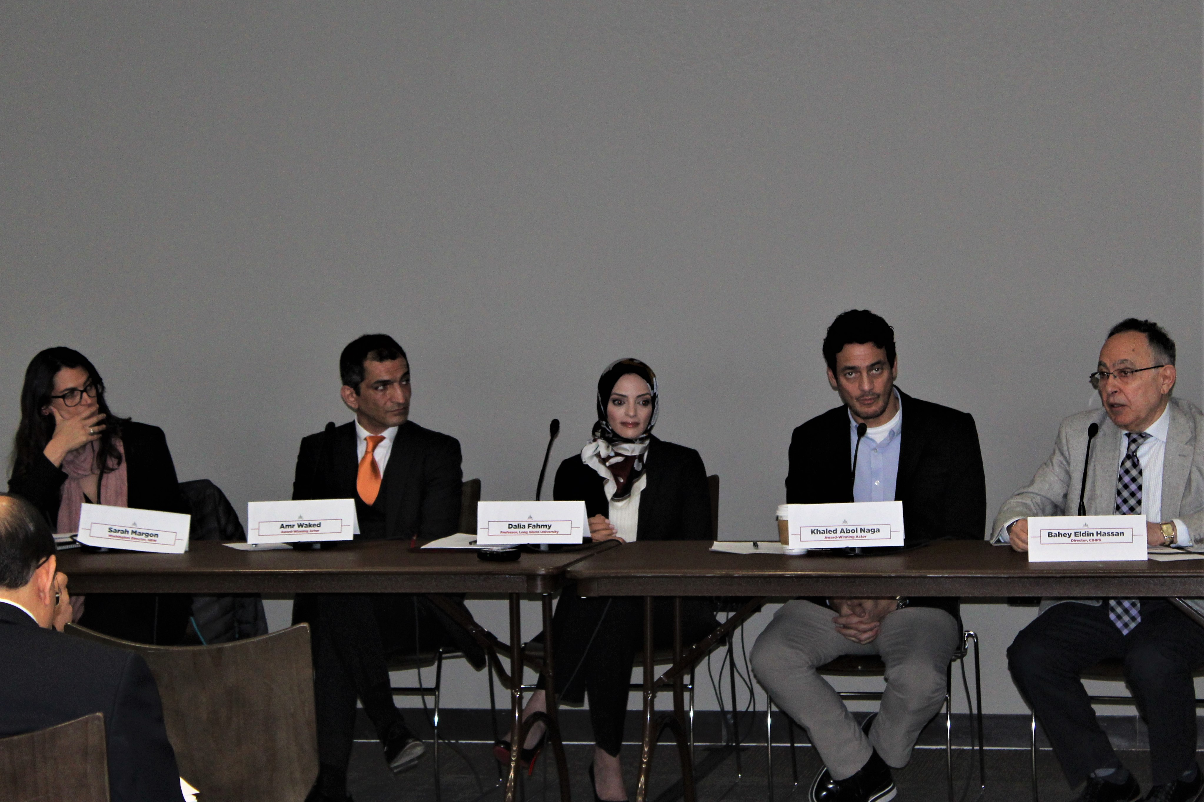 Amr Waked, second left, and Khaled Abol Naga, second right, appear on a panel on human rights in Washington in March (MEE/Ali Harb)