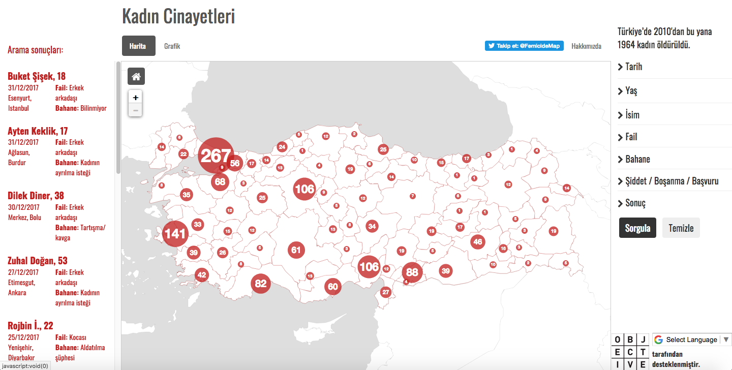 A snapshot of the Turkish Femicide Map (screengrab)