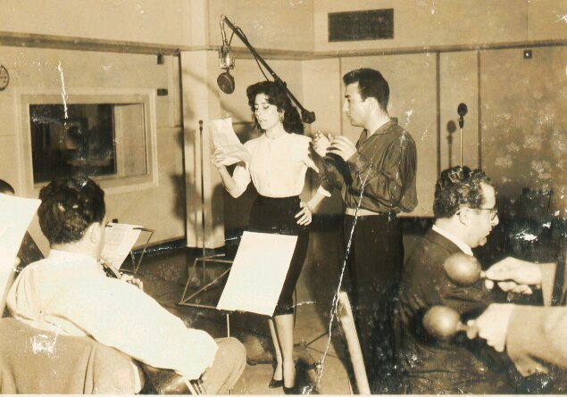 Elias Rahbani with Egyptian singer Souad Mohamed at Radio Liban (Courtesy of Jad Rahbani)