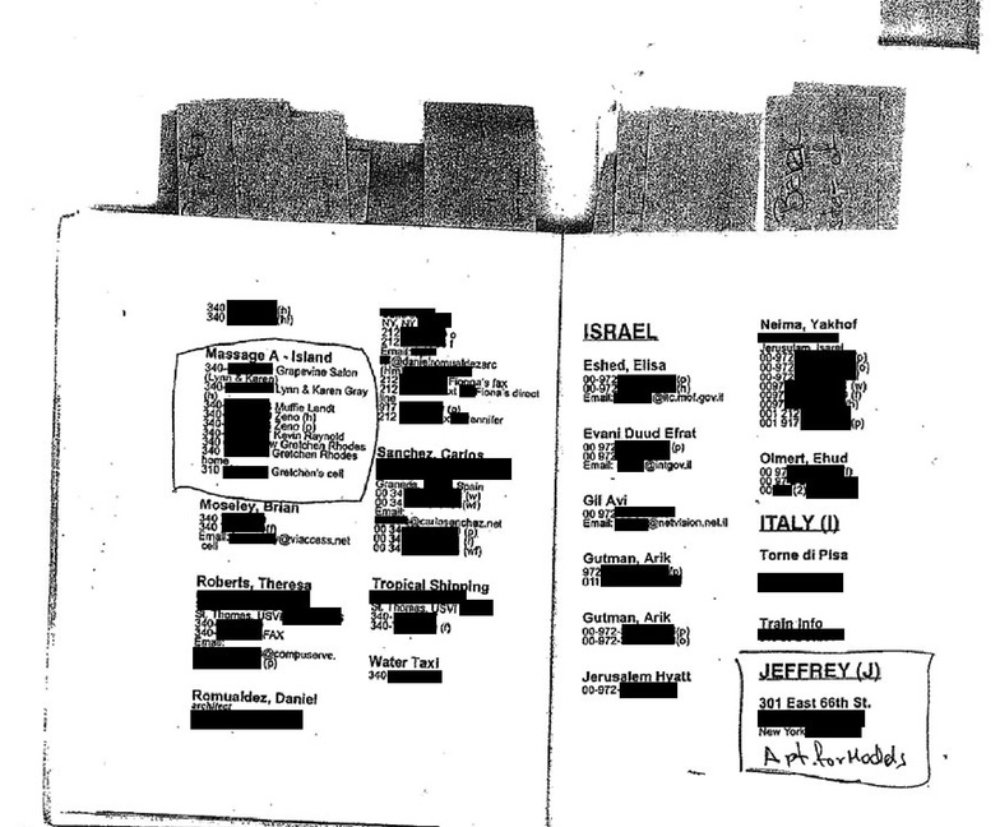 A photocopied page from Epstein's 'black book', as made public by Gawker (Screenshot)