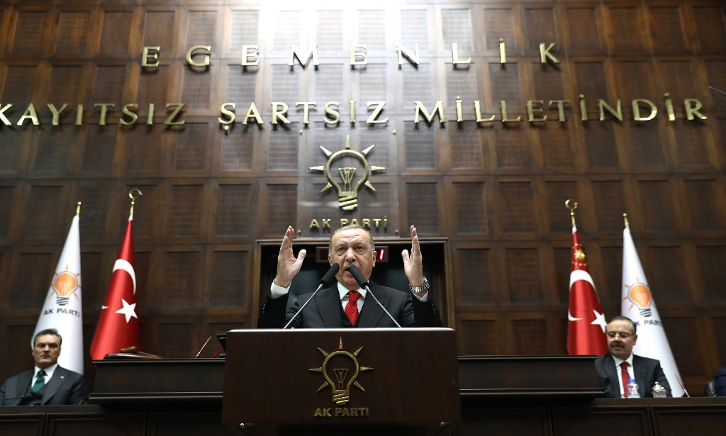 Turkish President Recep Tayyip Erdogan speaks in Ankara on 12 February (AFP)