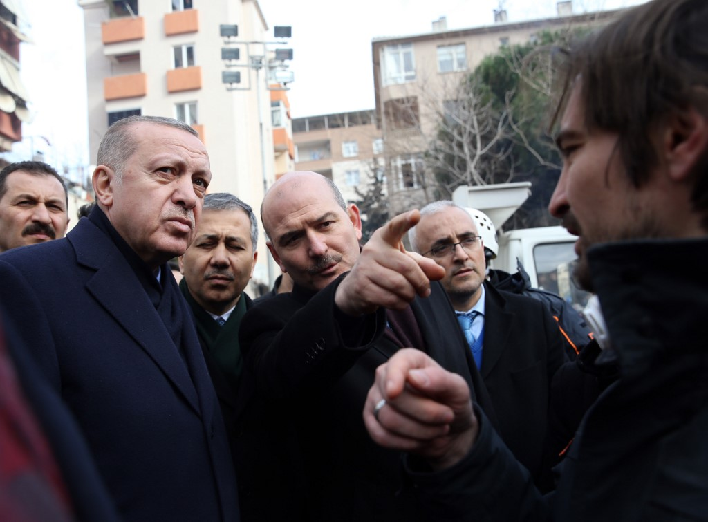 Turkish President Recep Tayyip Erdogan and Interior Minister Suleyman Soylu are pictured in Istanbul on 9 February (AFP)