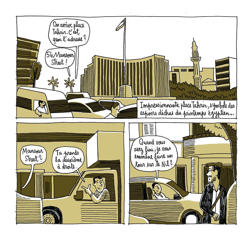 Arrivée au Caire, place Tahrir – début du voyage (avec l'aimable autorisation de Jérémie Dres)