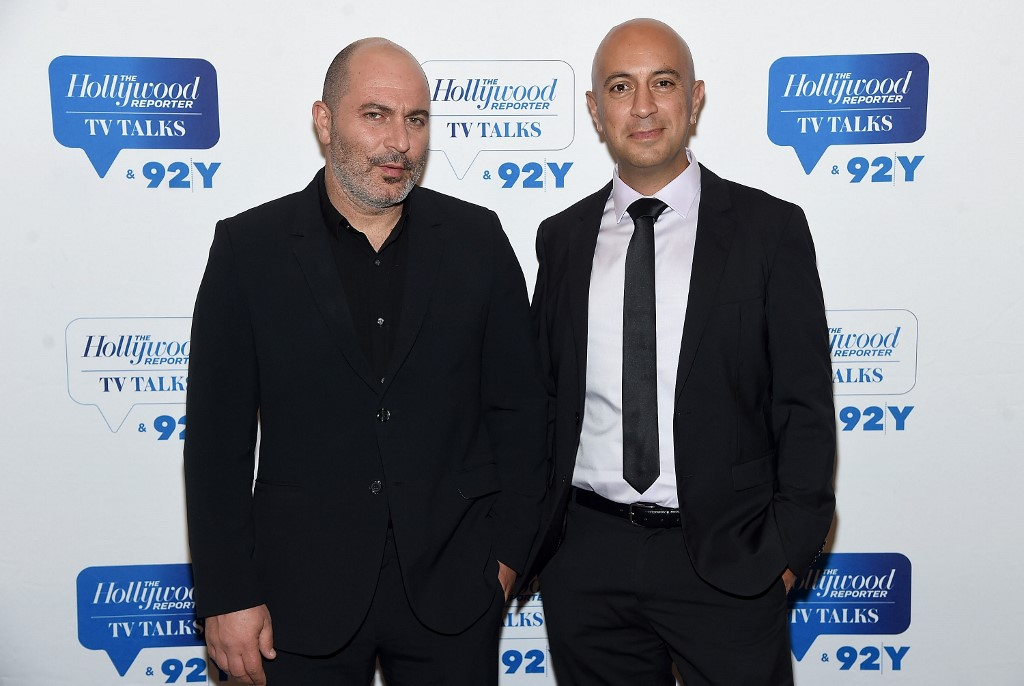 Fauda creators Lior Raz and Avi Issacharoff are pictured in New York in 2018 (AFP)