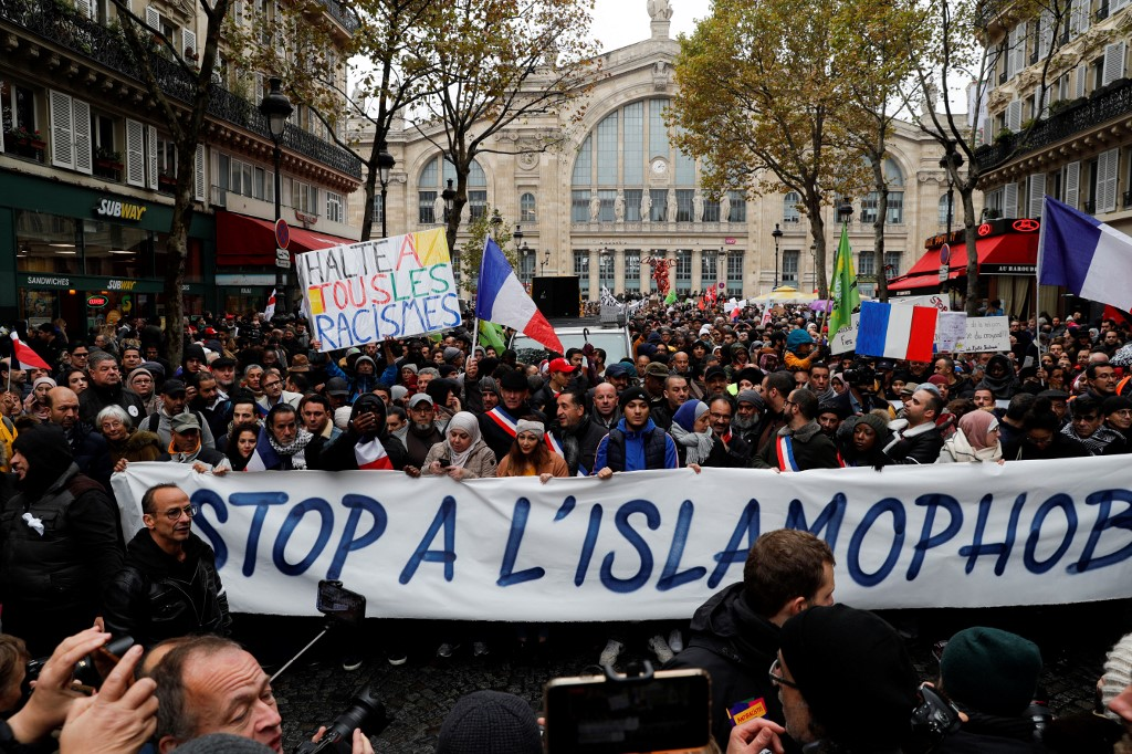 People demonstrate against Islamophobia in Paris on 10 November (AFP)