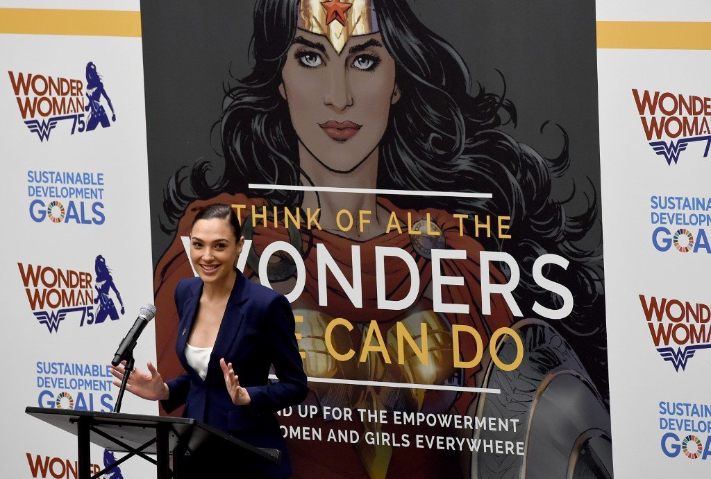 Gadot speaks during a ceremony as the UN honours the comic character Wonder Woman in New York in 2016 (AFP)
