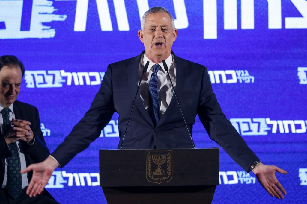 Candidate Benny Gantz speaks during a campaign event in Tel Aviv on 7 April (AFP)