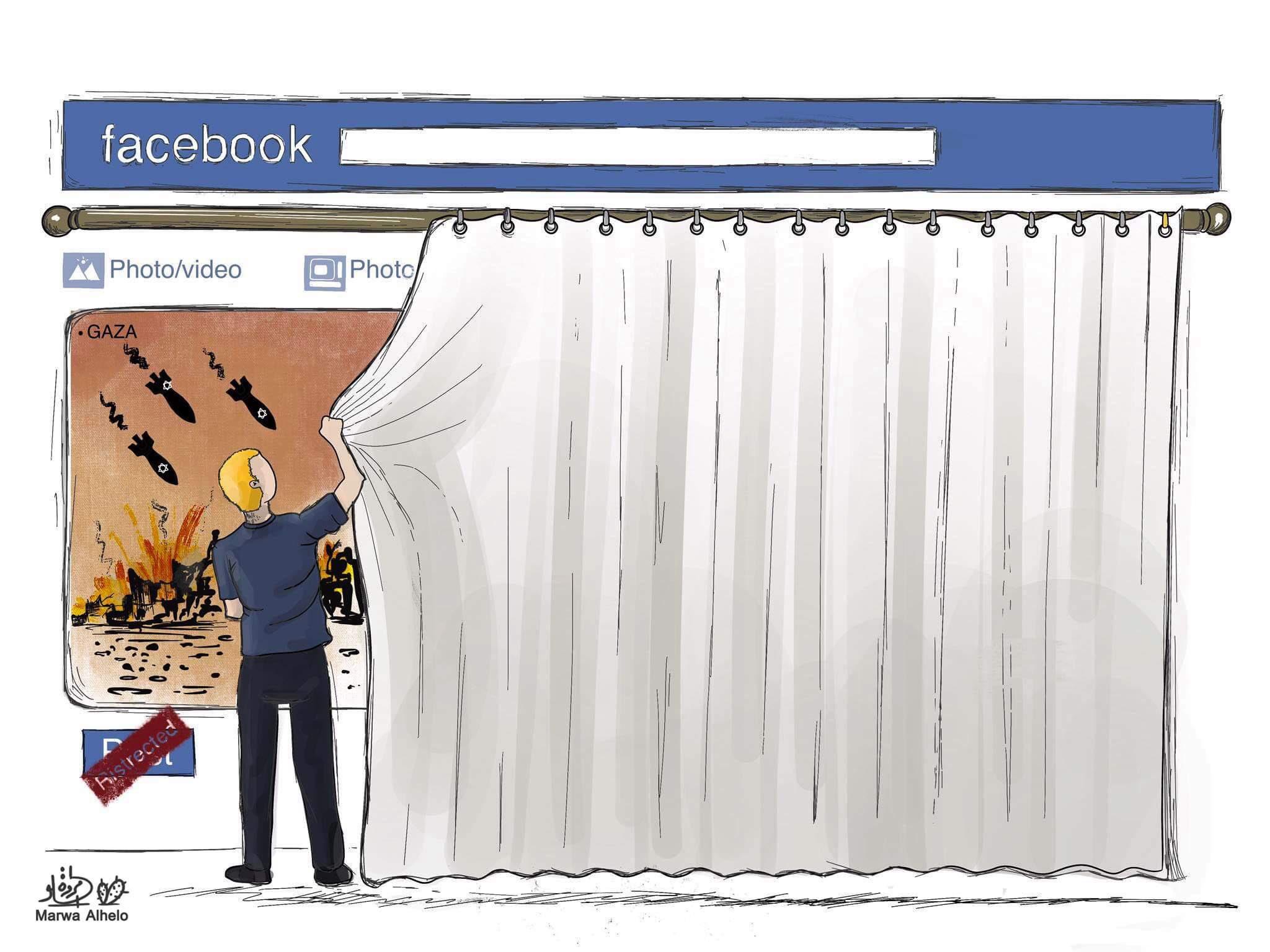 Un dessin d'un artiste palestinien vivant à Gaza sur les allégations de censure des réseaux sociaux sur fond de bombardement israélien (document fourni/Marwa Alhelo)