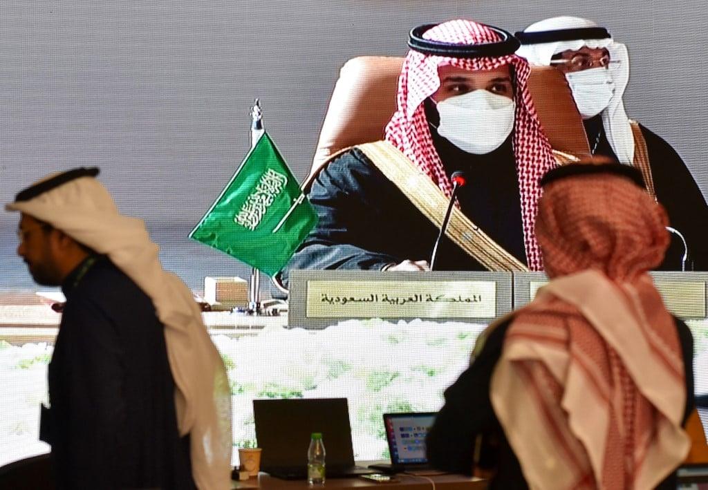 Saudi Crown Prince Mohammed bin Salman speaks at the GCC summit on 5 January 2021 (AFP)