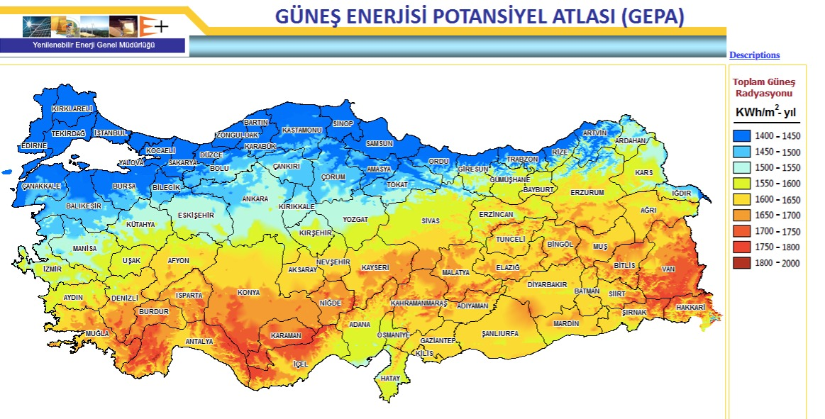 A map of potential solar energy by region of Turkey (GEPA)
