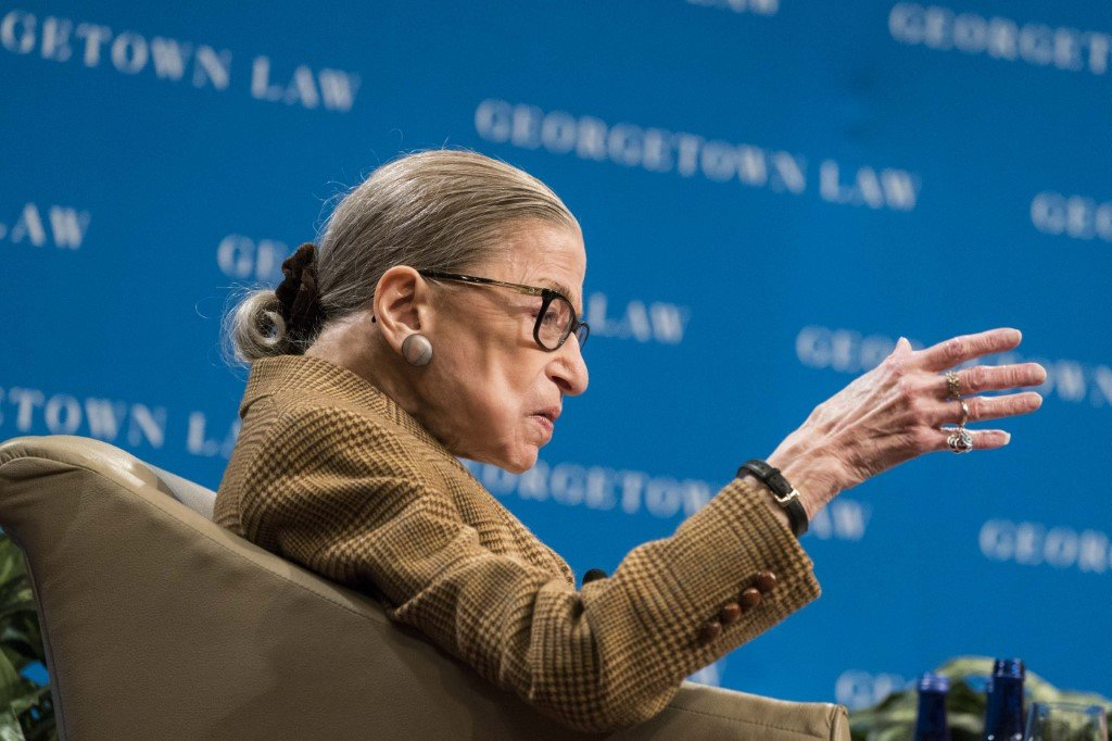 Ginsburg speaks at Georgetown University in Washington on 10 February (AFP)