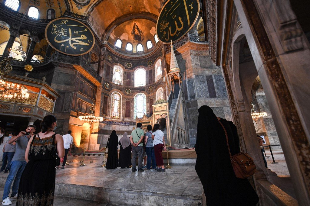 The interior of the Hagia Sophia in Istanbul is pictured on 10 July (AFP)