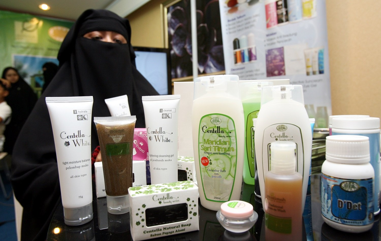 A display of halal-certified cosmetics andf beauty products at a Malaysia trade show in 2010 (AFP)