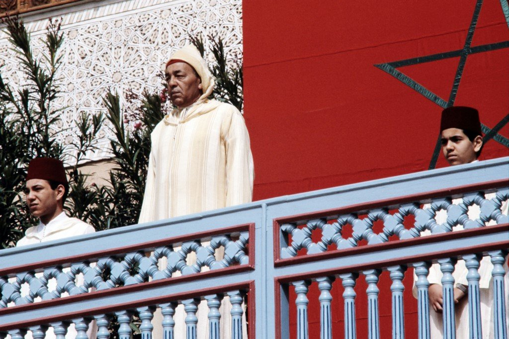 Hassan II is seen on the balcony of the Royal Palace in Marrakesh in 1985 (AFP)