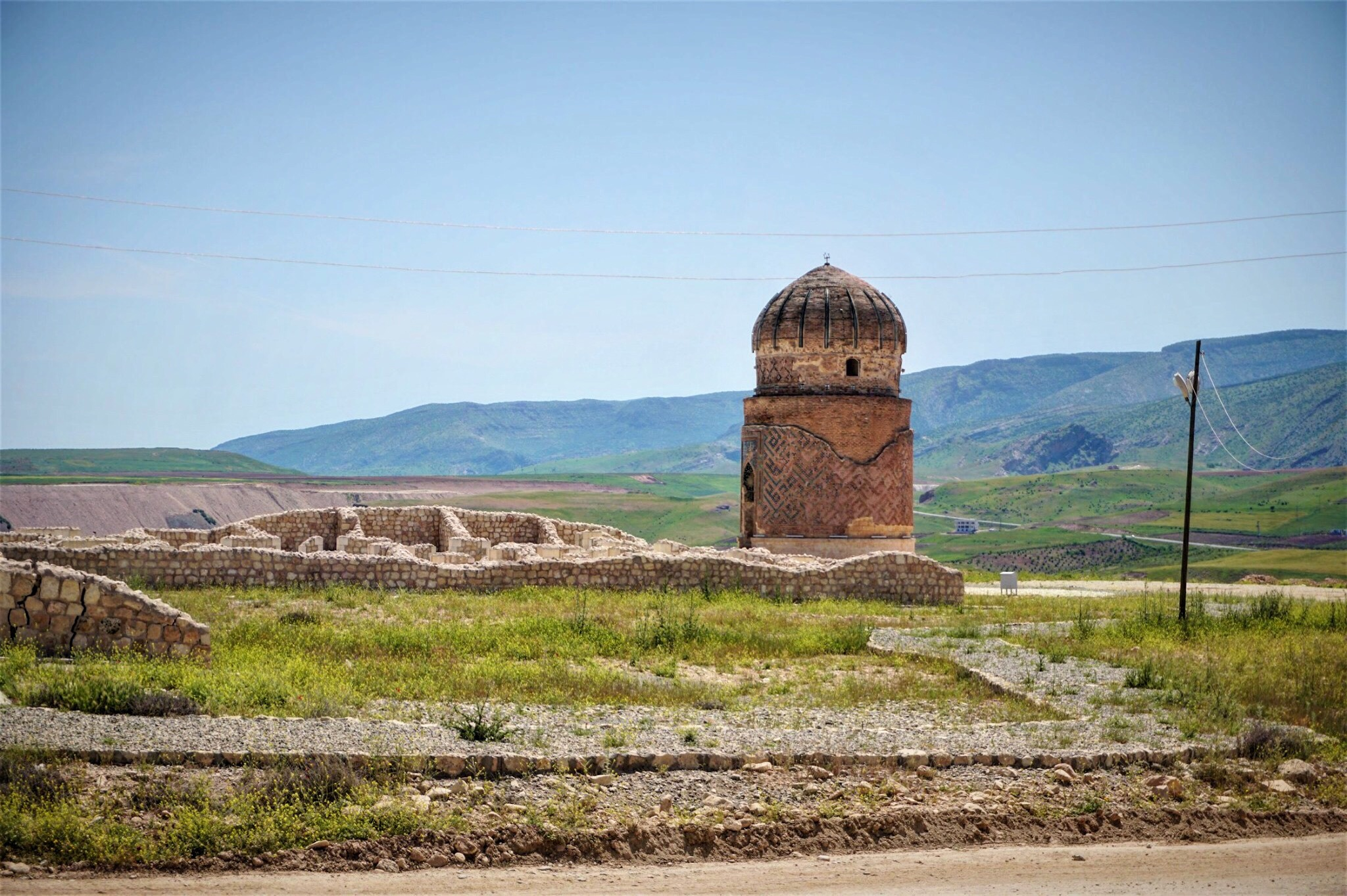 The 550-year-old Zeynel Bey Shrine was displaced May, 2017. It now sits in the archeopark by the 540-year-old Artuqid hamam that is surrounded with replica structures.
