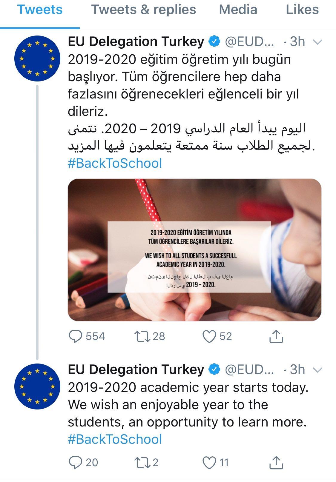 EU delegation in Turkey under fire for tweeting school